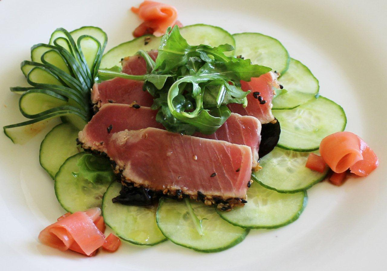 salad with basil vinaigrette grilled tuna with cucumber salad mustard ...