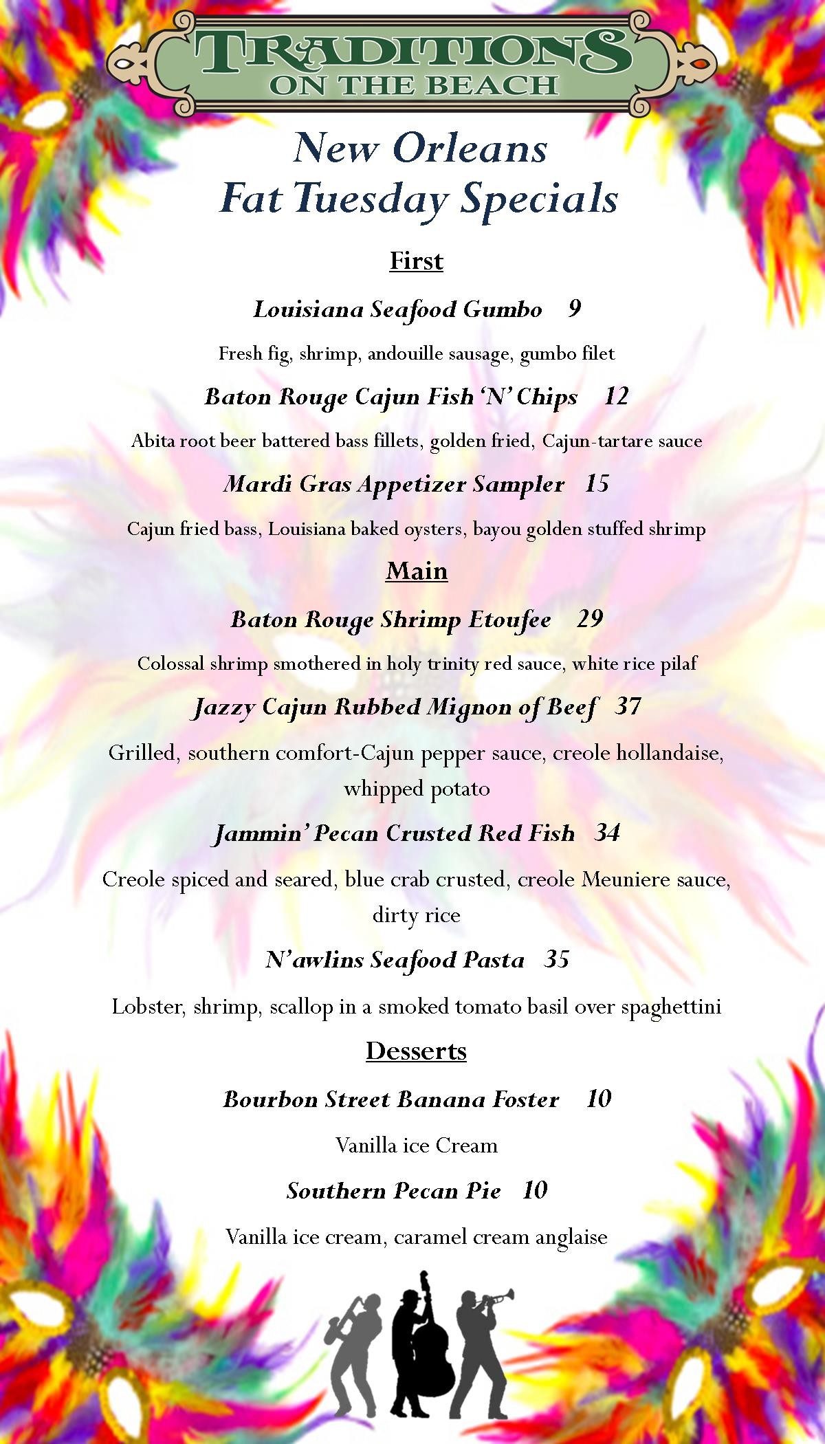 Mardi Gras/ Fat Tuesday Menu