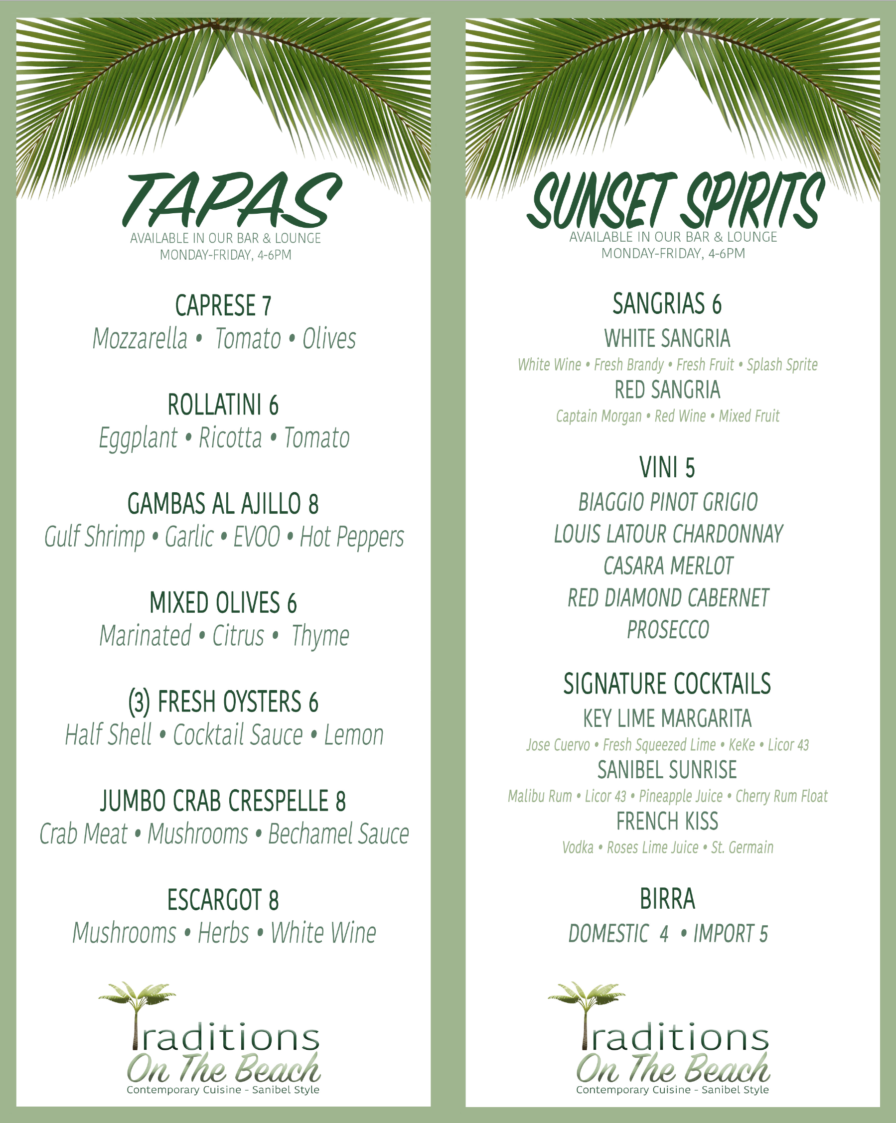 Sanibel Tapas Menu