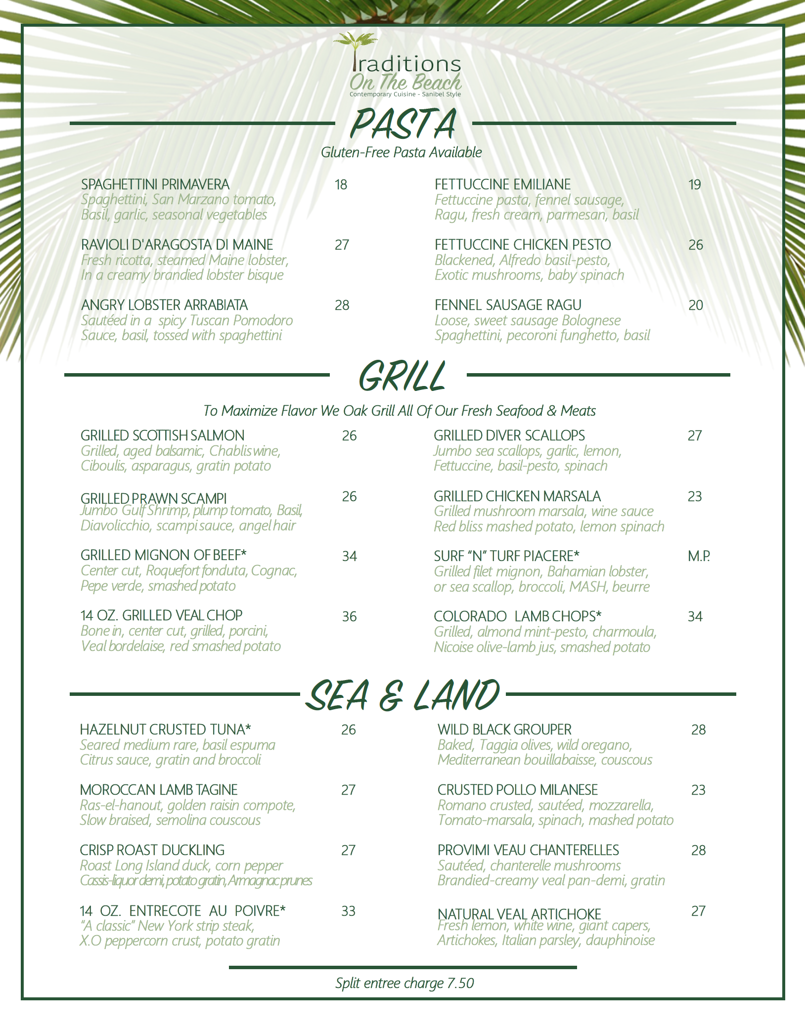 sanibel island restaurants - traditions on the beach dinner menu - page one
