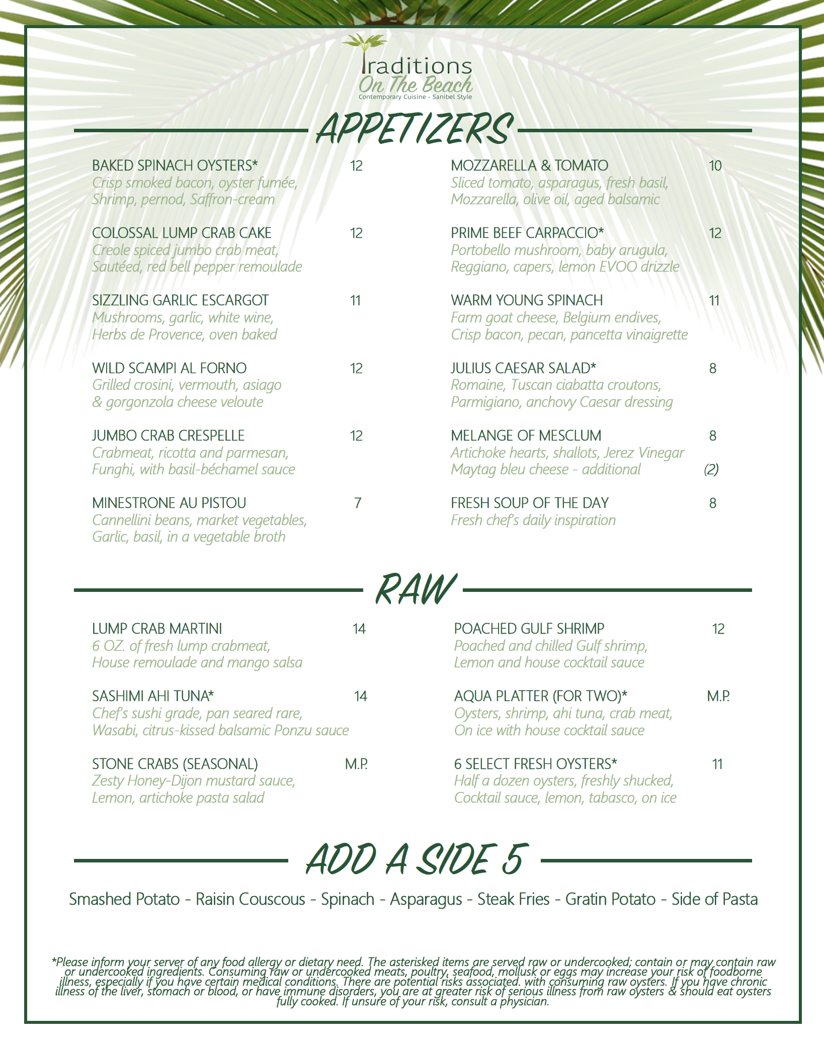 sanibel island restaurants - traditions on the beach dinner menu - page two